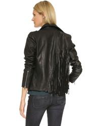 Veste motard en cuir à franges noire RtA