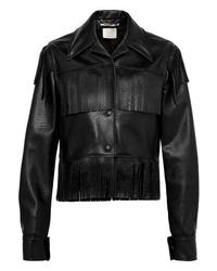 Veste motard en cuir à franges noire Stella McCartney