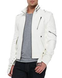 Veste motard en cuir blanche
