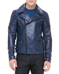 Veste motard en cuir bleu marine