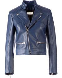 Veste motard en cuir bleu marine Balenciaga