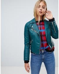 Veste motard en cuir bleue canard Miss Selfridge