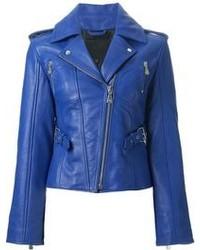 Veste motard en cuir bleue