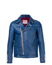 Veste motard en cuir bleue Addict Clothes Japan