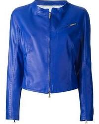 Veste motard en cuir bleue DSquared