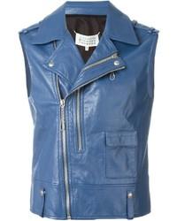 Veste motard en cuir bleue Maison Margiela