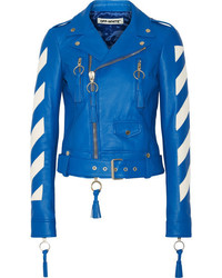 Veste motard en cuir bleue Off-White