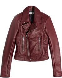 Veste motard en cuir bordeaux Balenciaga