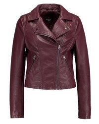 Veste motard en cuir bordeaux Even&Odd