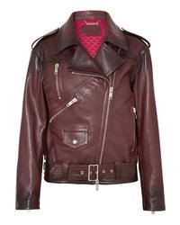 Veste motard en cuir bordeaux Givenchy
