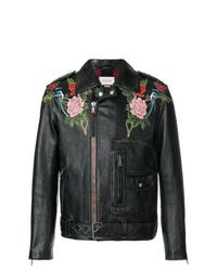 Veste motard en cuir brodée noire Gucci