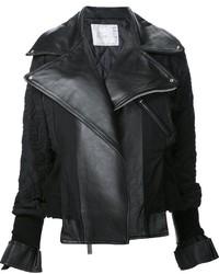 Veste motard en cuir brodée noire Sacai