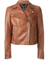 Veste motard en cuir brune Belstaff