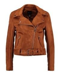 Veste motard en cuir brune New Look