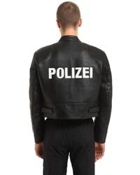 Veste motard en cuir imprimée noire
