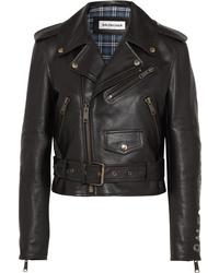 Veste motard en cuir imprimée noire Balenciaga