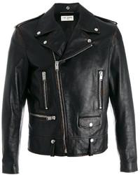 Veste motard en cuir imprimée noire Saint Laurent
