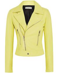 Veste motard en cuir jaune Balenciaga