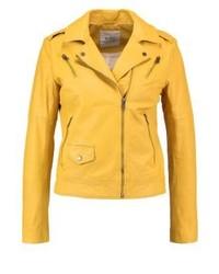 Veste motard en cuir jaune Esprit
