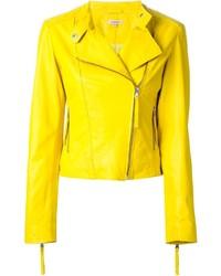 Veste motard en cuir jaune P.A.R.O.S.H.