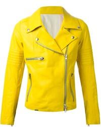 Veste motard en cuir jaune S.W.O.R.D.