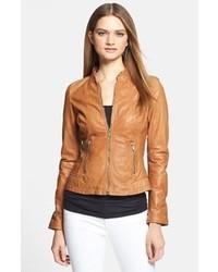 Veste motard en cuir marron clair