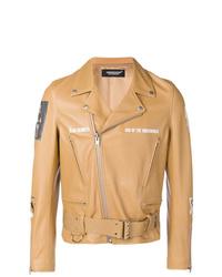 Veste motard en cuir marron clair Undercover
