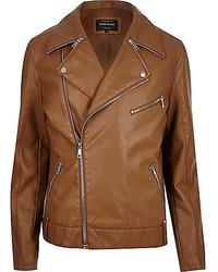 Veste motard en cuir marron