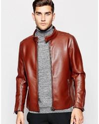 Veste motard en cuir marron Asos