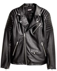 Veste motard en cuir matelassé noir