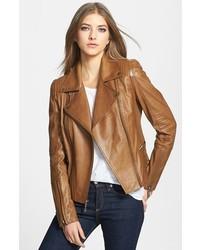 Veste motard en cuir matelassée marron clair
