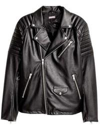 Veste motard en cuir matelassée noire