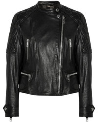 Veste motard en cuir matelassée noire Burberry