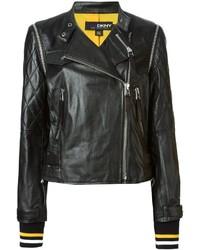 Veste motard en cuir matelassée noire DKNY