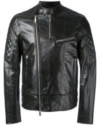 Veste motard en cuir matelassée noire DSQUARED2