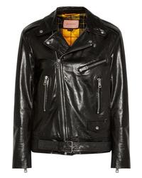 Veste motard en cuir matelassée noire Gucci