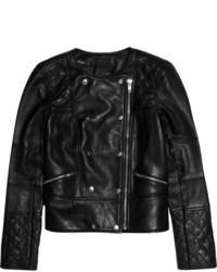 Veste motard en cuir matelassée noire J.Crew