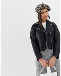Veste motard en cuir matelassée noire Miss Selfridge