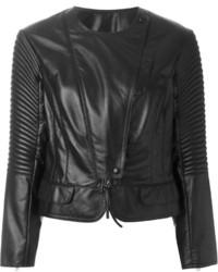 Veste motard en cuir matelassée noire Nina Ricci
