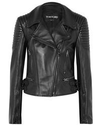 Veste motard en cuir matelassée noire Tom Ford