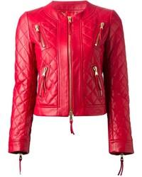 Veste motard en cuir matelassée rouge Moschino