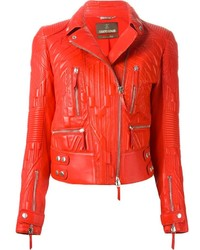 Veste motard en cuir matelassée rouge Roberto Cavalli