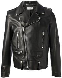 Veste motard en cuir noir