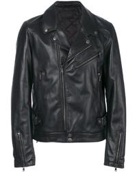 Veste motard en cuir noir Diesel Black Gold