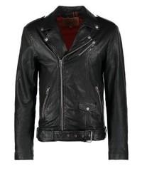 Veste motard en cuir noir Goosecraft