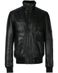 Veste motard en cuir noir Lanvin