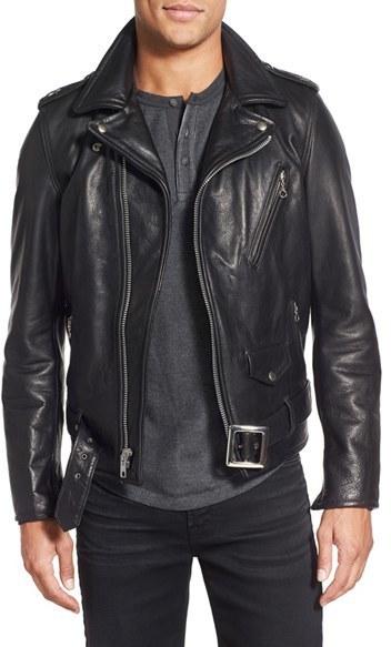 Veste en cuir noir schott