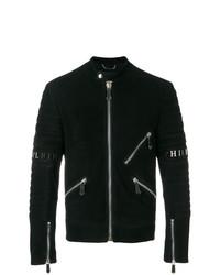 Veste motard en cuir noir Philipp Plein