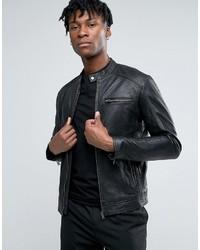 Veste motard en cuir noir Selected