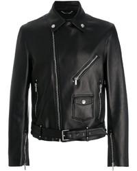Veste motard en cuir noir Versace